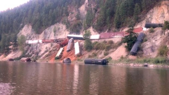 Train derailment in Montana's Clark Fork River