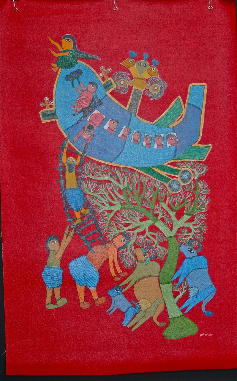Indian folk painting by Gond artist