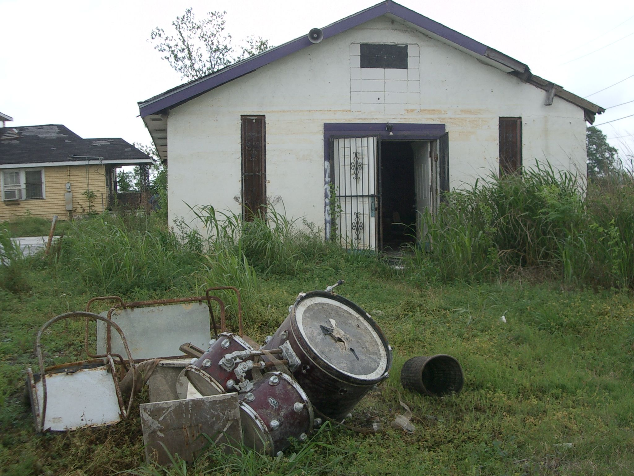 Katrina-destroyed church with trap set in front yard-circa 2007