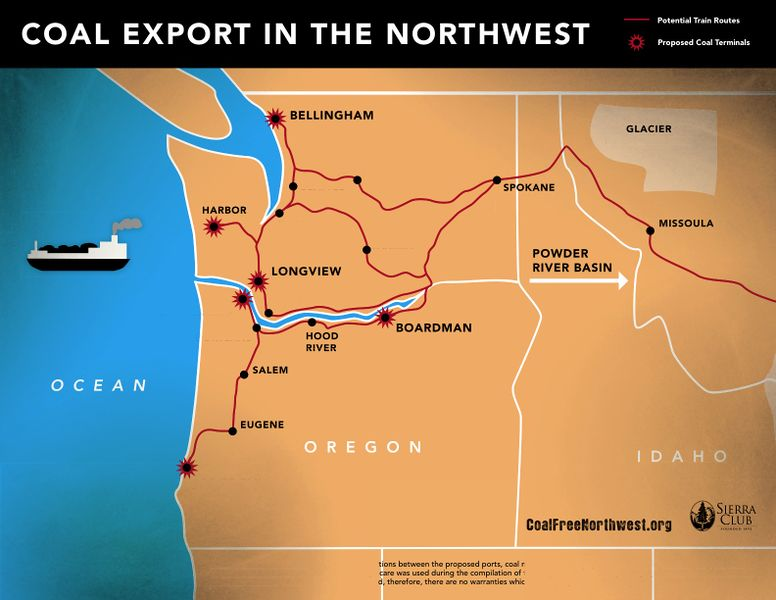Map of proposed Pacific Northwest coal export facilities.