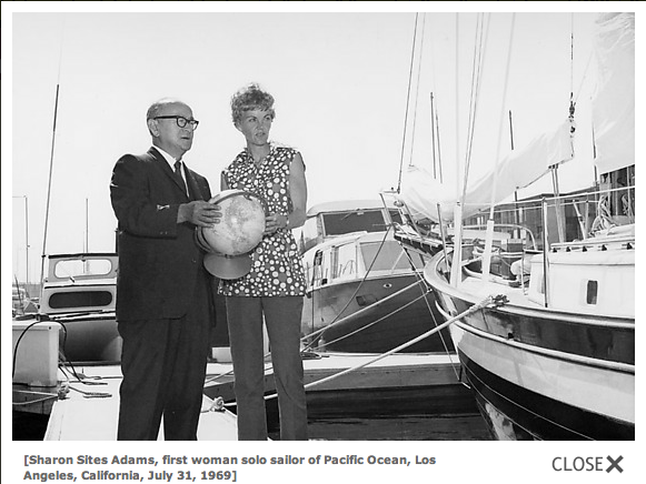 Sharon Sites Adams, first woman solo sailor of Pacific Ocean, Los Angeles, Calif