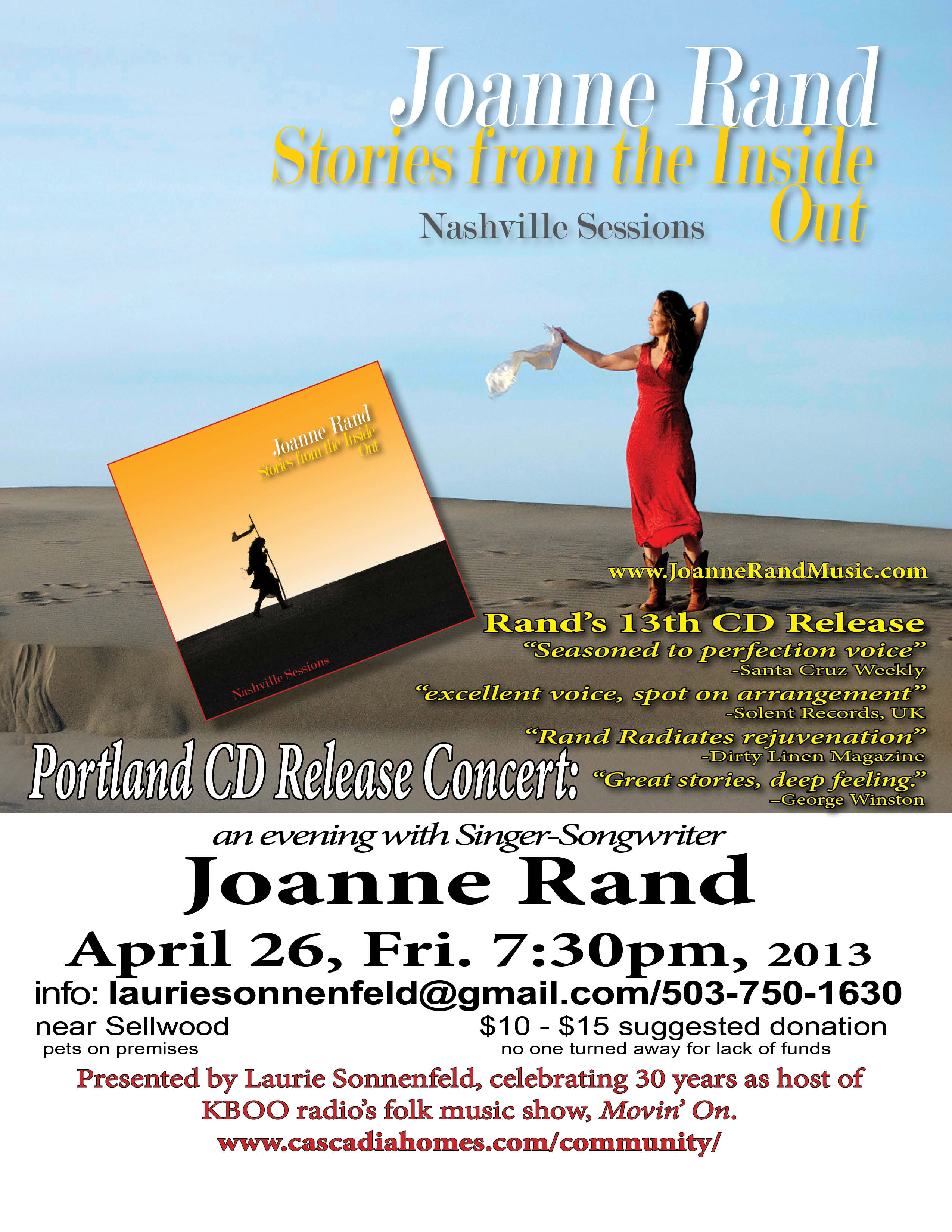 Joanne Rand CD Release Concert, Stories from the Inside Out