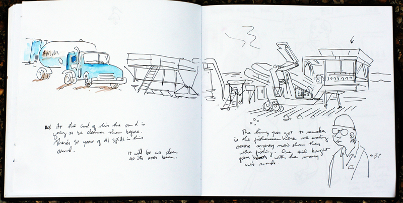 Shannon Wheeler's sketch of a sand-cleaning machine on the beach at Grand Isle.