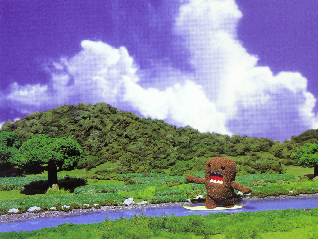 Domokun wanders the rivers and streams of Japan