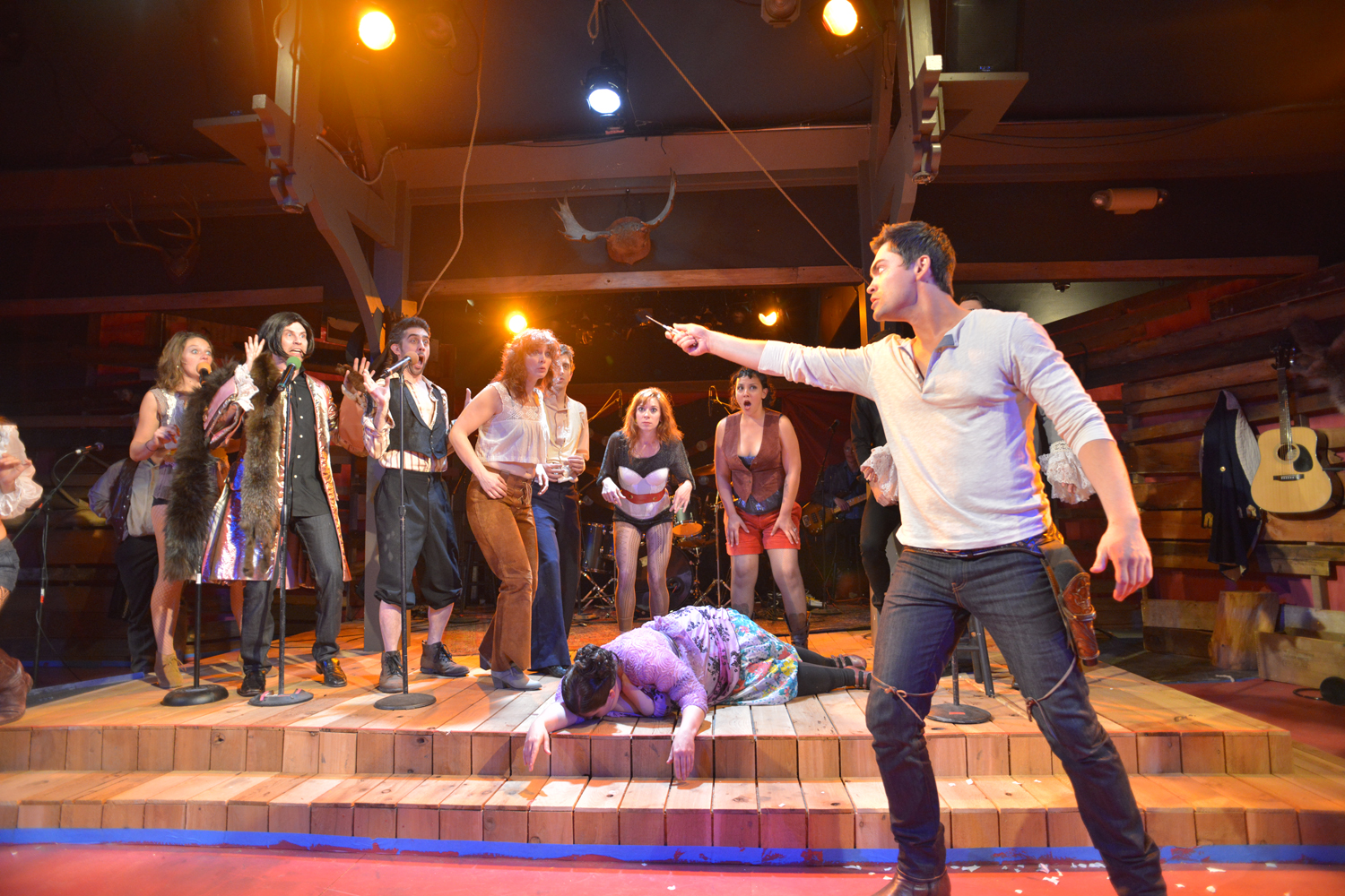 Logan Benedict and cast of Bloody, Bloody Andrew Jackson at Portland Playhouse