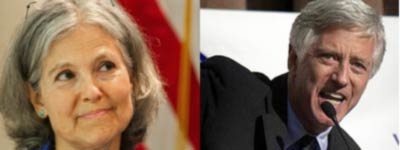 on the left, Jill Stein; on the right, Rocky Anderson