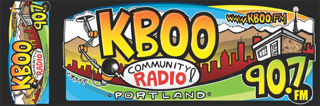 KBOO's new bumper/bike sticker.