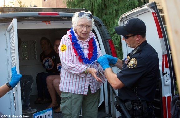 Grateful Great Grandma Nan, being arrested at Obama's Headquarters