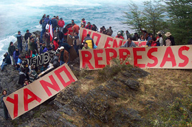 Protest against megadams in Patagonia