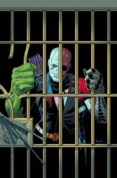 composite comic  superhero behind bars