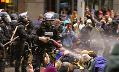 Police attack protesters at 1999 WTO protest in Seattle