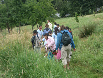 School kids explore Zenger Farm's wetland