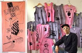Leif J Lee in front of handmade garments