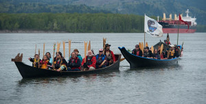 Tribes rally on the water against Kalama methanol refinery