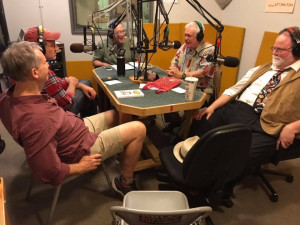 Live in the KBOO studios with (left to right) Jonathan Stark, David Koff, Ken Jones, Phil Proctor, and Sam Mowry