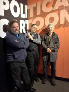 Patrick Rosenkranz, David Chelsea, and Norman Solomon at the Oregon Historical Society's Comic City USA exhibit during the Underground USA symposium