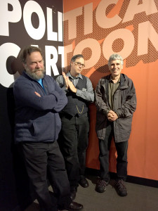 Patrick Rosenkranz, David Chelsea, and Norman Solomon at the Oregon Historical Society's Comic City USA exhibit during the Underground USA symposium