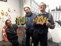 S.W. Conser with Patrick Rosenkranz and David Chelsea at the Oregon Historical Society's Comic City USA exhibit during the Underground USA symposium